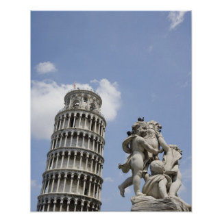 Leaning Tower of Pisa and Statue, Italy Poster