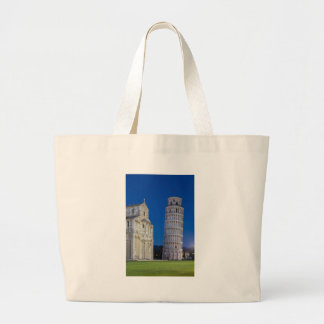 Leaning Tower of Pisa at night Large Tote Bag