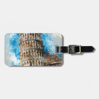 Leaning Tower of Pisa in Italy - Watercolor Bag Tag