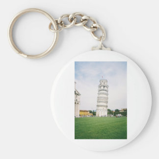 Leaning Tower of Pisa Basic Round Button Keychain