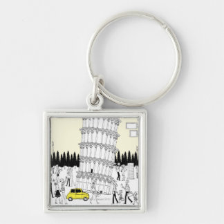 Leaning Tower of Pisa Silver-Colored Square Keychain