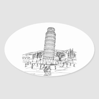 leaning tower of pisa oval sticker
