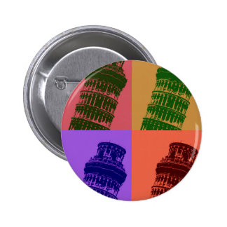 Leaning Tower of Pisa Pop Art Pinback Button