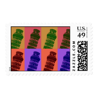 Leaning Tower of Pisa Pop Art Postage