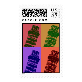 Leaning Tower of Pisa Pop Art Stamp