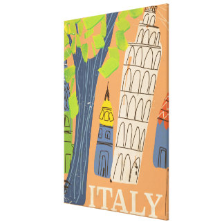 Leaning tower of Pisa vintage travel poster Canvas Print