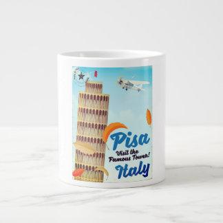Leaning Tower of Pisa Vintage vacation print. Large Coffee Mug