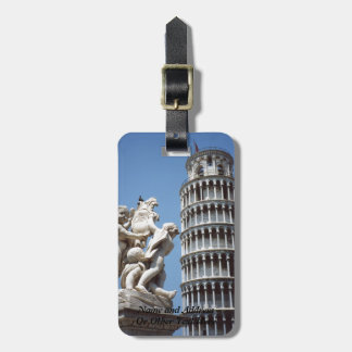 Leaning Tower of Pisa with Cherub Statue Bag Tag
