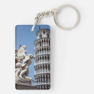 Leaning Tower of Pisa with Cherub Statue Double-Sided Rectangular Acrylic Keychain