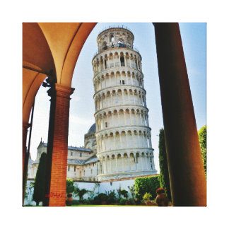 Leaning Tower Twilight, Wrapped Canvas Print