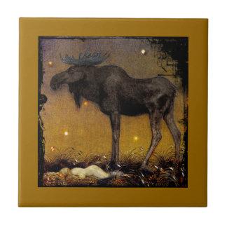Leap Elk Princess Cotton Asleep Ceramic Tile
