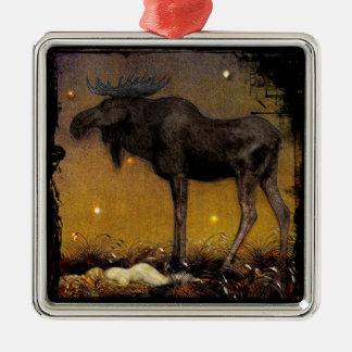 Leap Elk Princess Cotton Asleep Metal Ornament
