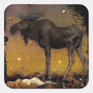 Leap Elk Princess Cotton Asleep Square Sticker
