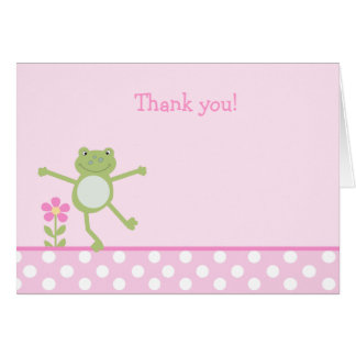LEAP FROG FROGGY PINK Folded Thank you note Card