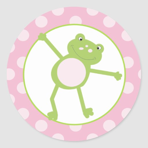 Leap Frog (Pink) Envelope Seals / Toppers 20