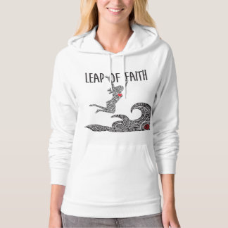 Leap of Faith Hoodie Woman Jumping Leaping Front