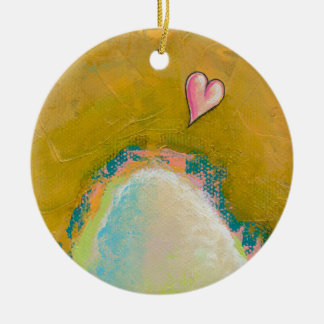 Leap of faith little heart hopeful art painting Double-Sided ceramic round christmas ornament