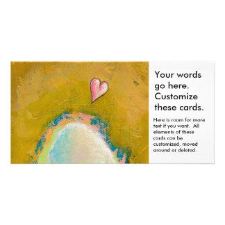 Leap of faith little heart hopeful art painting photo card template