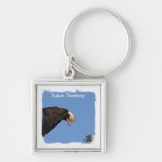 Leap of Faith; Yukon Territory Souvenir Silver-Colored Square Keychain