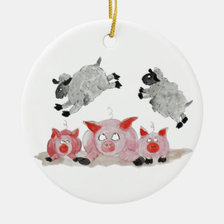Leap Pig by Suffolk Sheep Ceramic Ornament