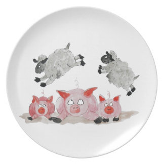 Leap Pig by Suffolk Sheep Melamine Plate