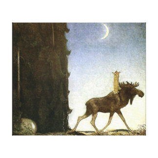 Leap the Elk and Princess Tuvstarr by John Bauer Stretched Canvas Prints