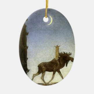 Leap the Elk and Princess Tuvstarr by John Bauer Double-Sided Oval Ceramic Christmas Ornament