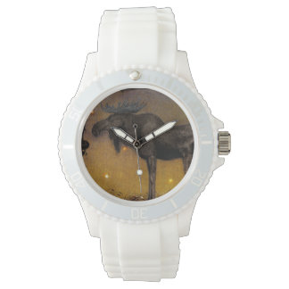 Leap the Elk in Snow Wrist Watches