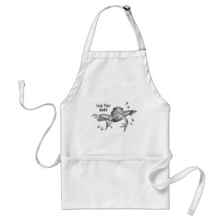 Leap Year Baby: Leaping Frog in Pencil Adult Apron