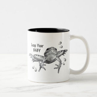Leap Year Baby: Leaping Frog in Pencil Two-Tone Coffee Mug