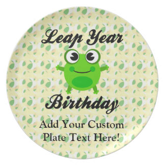Leap Year Birthday, Cute Frog Melamine Plate
