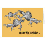 Leap Year Birthday: Leaping Frogs: Pencil Drawing Greeting Card