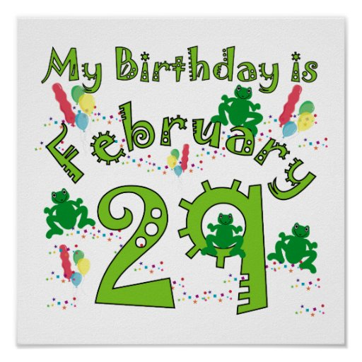 Birthday Date Poster: Leap Year Birthday Poster