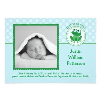 Leap Year Boy Photo Birth Announcement Invitation