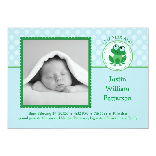 Leap Year Boy Photo Birth Announcement Invitation