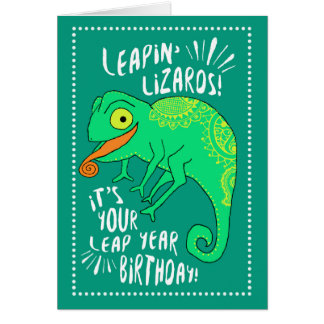 Leap Year Leapin' Lizards Birthday Card