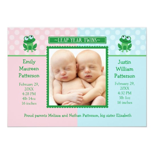 Leap Year Twins Photo Birth Announcement Invitatio