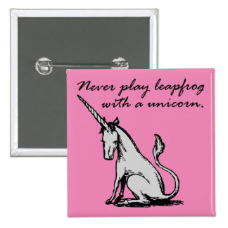 Leapfrog With A Unicorn Funny Button Badge Pin