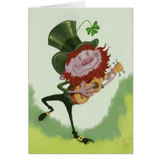 Leapin' Leprechaun Playin' His Ukulele Card