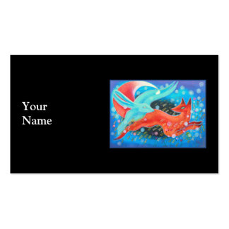 Leaping Animals, a Fox and a Hare. Business Card