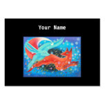 Leaping Animals, a Fox and a Hare. Large Business Cards (Pack Of 100)