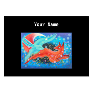 Leaping Animals, a Fox and a Hare. Large Business Card