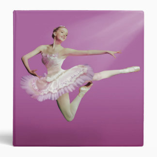 Leaping Ballerina in Pink and White Binder