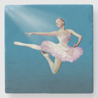 Leaping Ballerina in Pink and White Stone Beverage Coaster