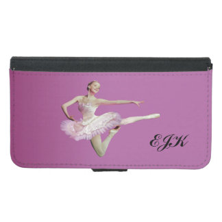Leaping Ballerina in Pink and White, Monogram Wallet Phone Case For Samsung Galaxy S5