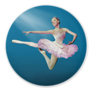 Leaping Ballerina in Pink and White on Blue Ceramic Knob