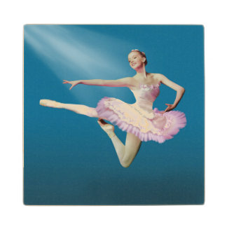 Leaping Ballerina in Pink and White on Blue Maple Wood Coaster