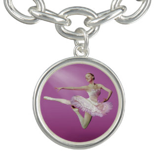 Leaping Ballerina in Pink and White on Pink Charm Bracelet