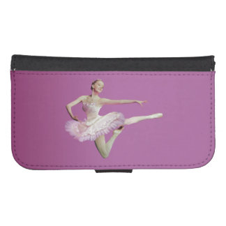 Leaping Ballerina in Pink and White on Pink Phone Wallet