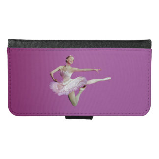 Leaping Ballerina in Pink and White on Pink Wallet Phone Case For Samsung Galaxy S6